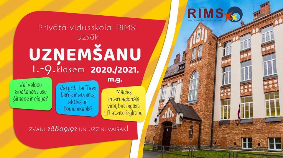 """Privātā vidusskola """"RIMS"""" uzsāk skolēnu uzņemšanu 1.-9. klasēm 2020./2021. m.g."""